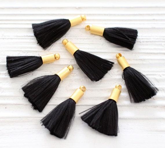 2pc mini black tassel, earrings tassels, mini tassels, mini tassel pendant, gold cap tassel, black tassel, short necklace tassel, black, N8