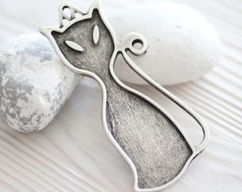 Cat pendant, animal pendant, silver cat pendant, silver pendant, large pendant, boho findings, kitten pendant, cozy cat, silver cat