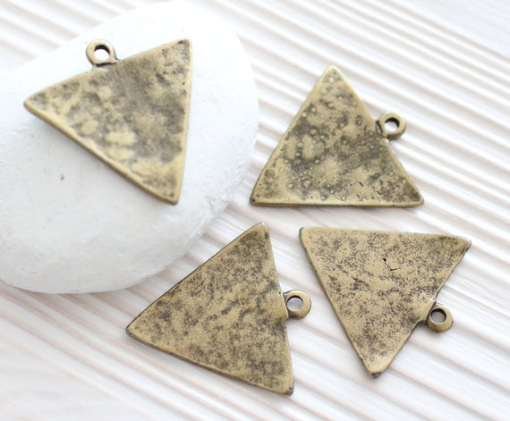 2pc antique gold triangle pendant, geometric pendant, antique gold triangle charms, earring charms, hammered metal pendant, boho charms