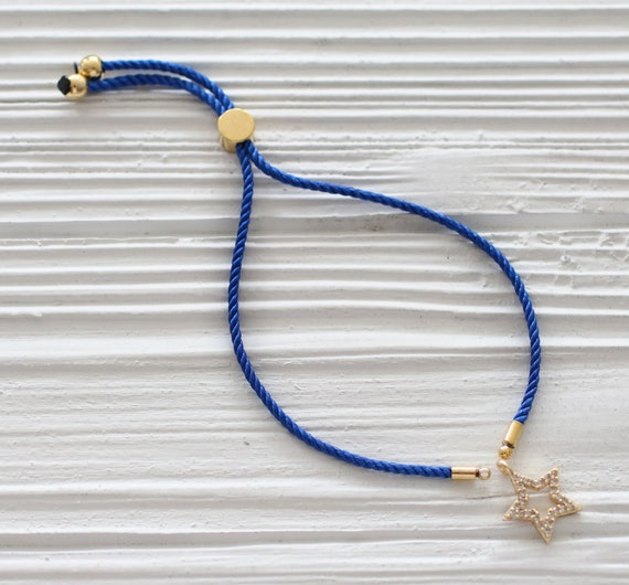 Adjustable cobalt blue cord bracelet, DIY string bracelet blank, semi-ready bracelet with gold sliding stopper, blue friendship bracelet,N16