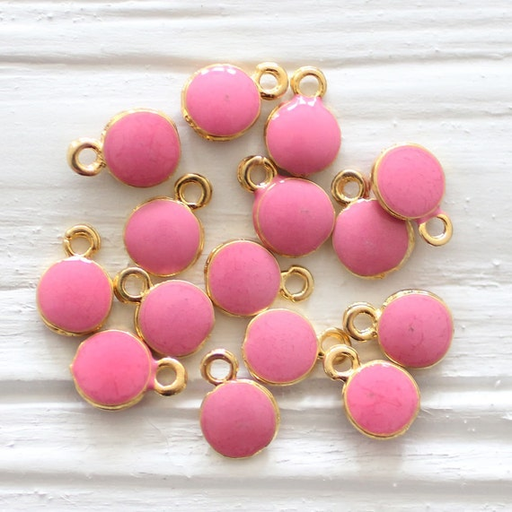 10pc pink charm, enamel charms, mini round gold charms, necklace charms, earrings dangle, pink, bracelet charms, mini pink pendant