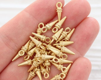 10pc gold spike beads, dagger charms, earring charms, spikes, gold metal charms, gold beads, bracelet charms, tiny beads, rustic, dagger