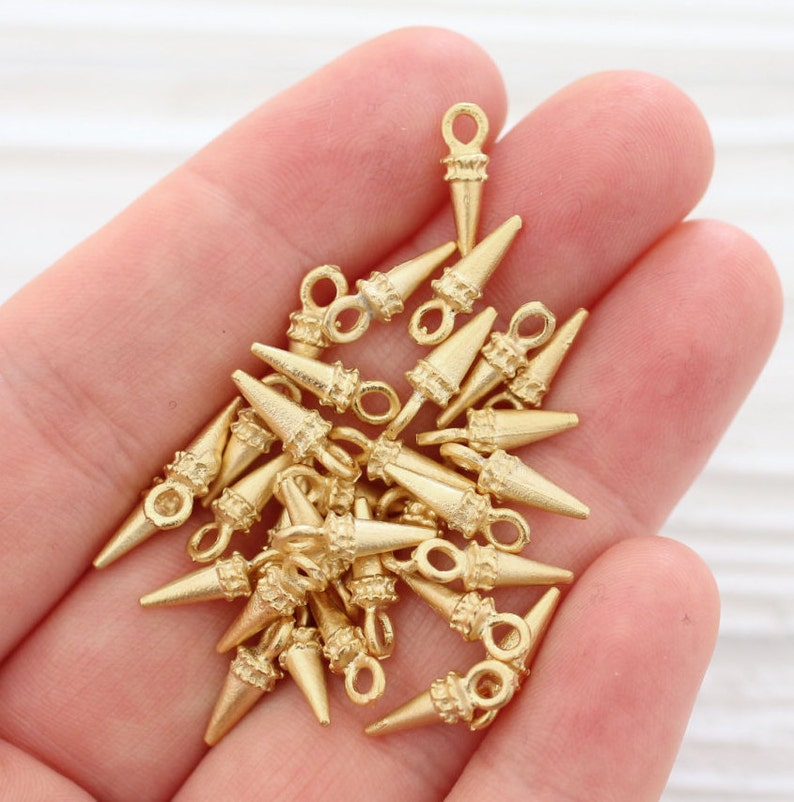 10pc gold spike beads dagger charms earring charms spikes image 0