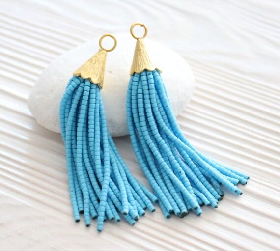 Turquoise beaded tassel, earring tassel, short tassel, tassel pendant, bead tassel, decorative tassels, tassel earrings,blue tassel,aqua,N11
