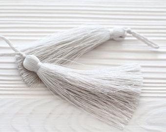 Off white silk tassel, light gray, mala tassel, thread tassel, tassel, jewelry tassels, decorative tassels, light grey large tassels, N31