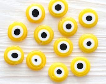 15pc-12mm yellow evil eye, glass beads, round glass beads, lamp work, evil eye beads, DIY beads, flat glass beads, good luck beads, EE12
