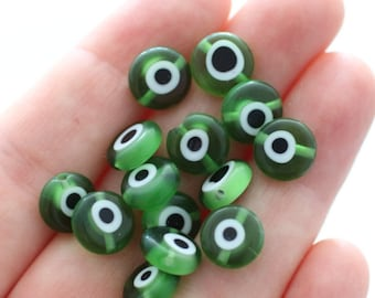 15pc-10mm green evil eye beads, flat glass beads, lamp work beads, green evil eye, handmade, round evil eye beads, DIY bracelet beads, EE10