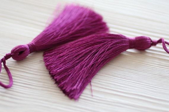 Plum fuchsia silk tassel, large silk tassels, tassels for jewelry, tassel, handmade, decorative tassels, magenta, orchid, mala tassel, N21