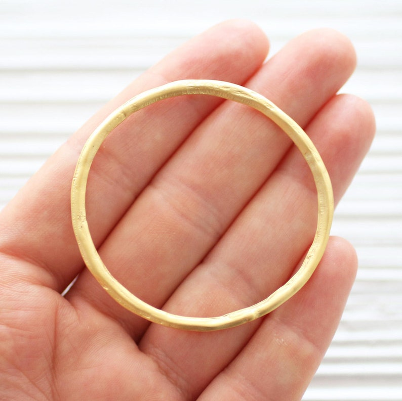 Large matte gold round ring connector gold link circle image 0