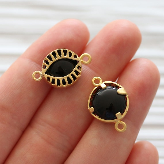 Black jade pendant connector, jade stone, gold bezel round connector, gemstone dangle, filigree gemstone connector, black findings