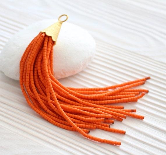Orange beaded tassel, gold cap tassel, tassel pendant, tassels for jewelry, tribal tassel, tassel earrings, ethnic tassel, long tassel, N13