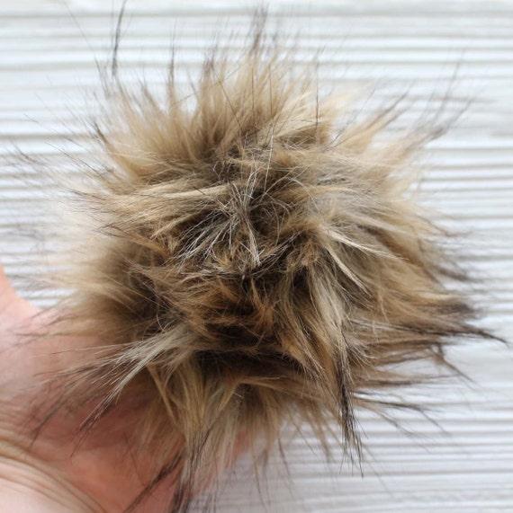 "Brown faux fur pom pom, 5"" pom poms for hats keychains purses bridal shower slippers decor, beanie pom pom, large pom pom, home decor, N5"