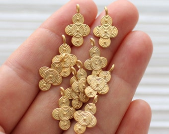 10pc spiral earring charms gold, tribal charms, bracelet charms, gold charms, dangles, spiral necklace charm, metal charms, gold beads