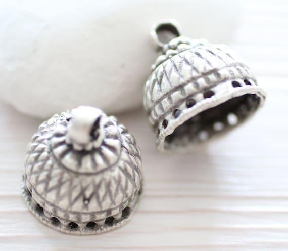 Large silver tassel cap, bead caps, bead cones, silver bead cap, end caps, unique findings, rustic bead cap, metal tribal tassel cap,antique