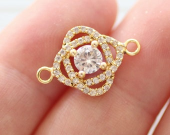 Crystal connector, pave charms gold, pave connectors, clear crystal earring charms, rhinestone jewelry, round bracelet connector, pendant