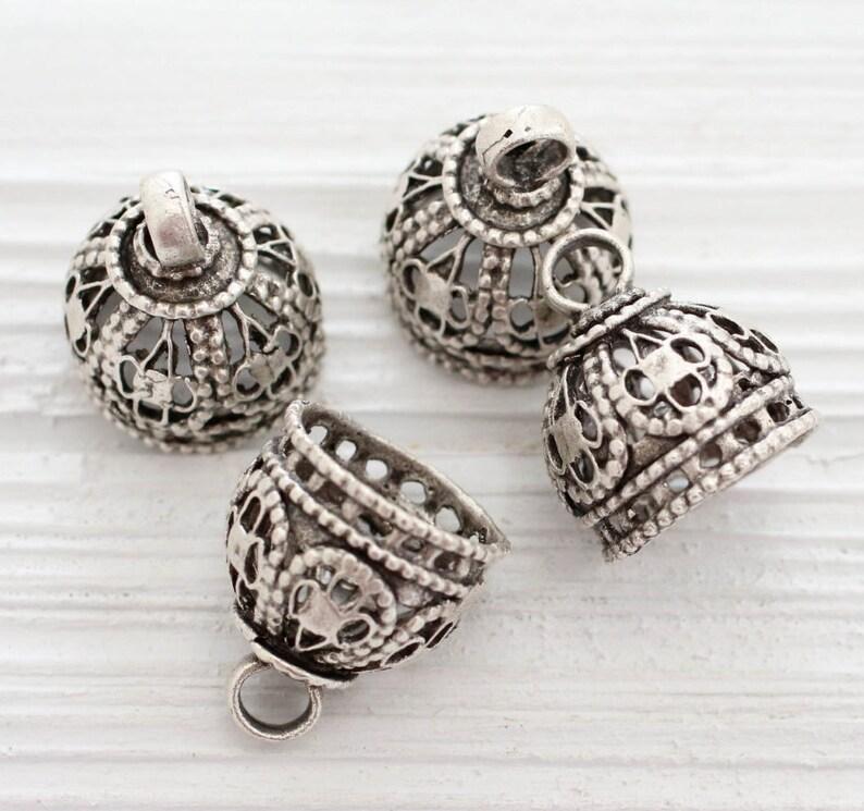 Large filigree silver tassel cap bead caps end caps silver bead cap metal ornate tassel cap unique cones filigree bead cap bead cones