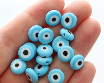 15pc-10mm turquoise evil eye beads, lamp work beads, tiny evil eye, glass beads, blue evil eye, handmade glass bead, round glass beads, EE10