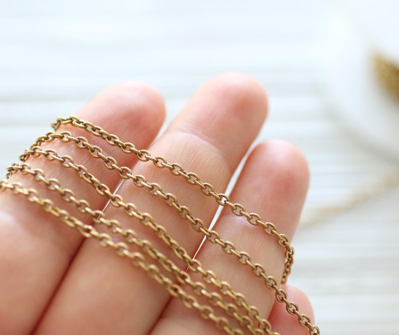 2x3mm brass antique gold cable chain brass chain antique image 0