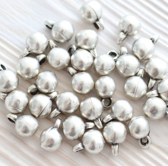 10pc silver beads, bracelet charms, earring beads, ball beads, tiny beads, silver charms, metal charms, boho charms, earring charms, rustic