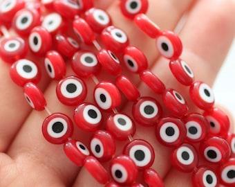 20pc-8mm red evil eye beads, round evil eye beads, flat evil eye glass beads, necklace beads, lucky evil eye, DIY bracelet beads, EE8