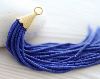 Cobalt blue beaded tassel, long bead tassel, tassel pendant, earrings tassel, necklace tassel, royal blue, tassel, large tassel, long, N1