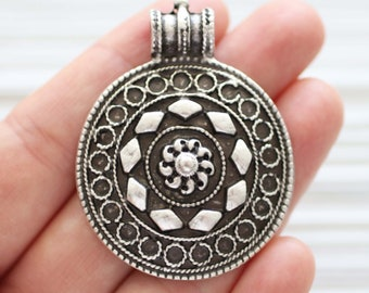 Silver pendant, tribal pendant silver, large hole pendant, round pendant, focal pendant, metal spiral pendant, silver findings for jewelry