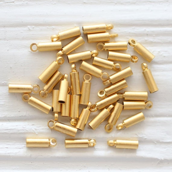 10pc leather end caps, end caps for jewelry, 1.5mm gold plated leather end crimp, end cap with loops, crimp end cap, end caps for leather