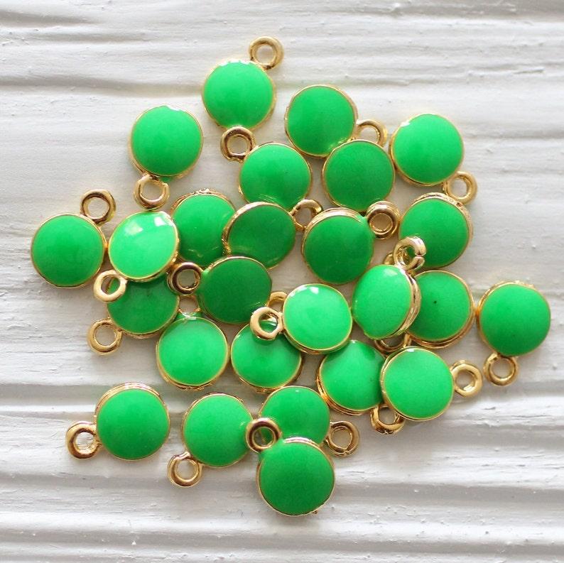 emerald Christmas charms mini green pendant mini round gold charms 10pc green charm earrings charm bracelet dangle enamel charms