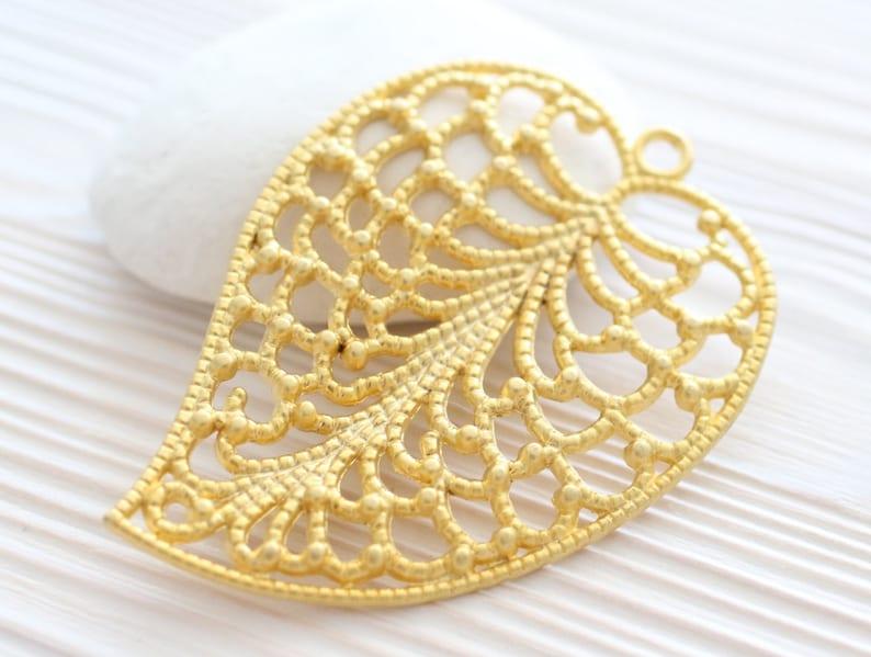 large leaf filigree leaf pendant large gold pendant Leaf pendant gold filigree findings filigree filigree leaf boho gold leaf