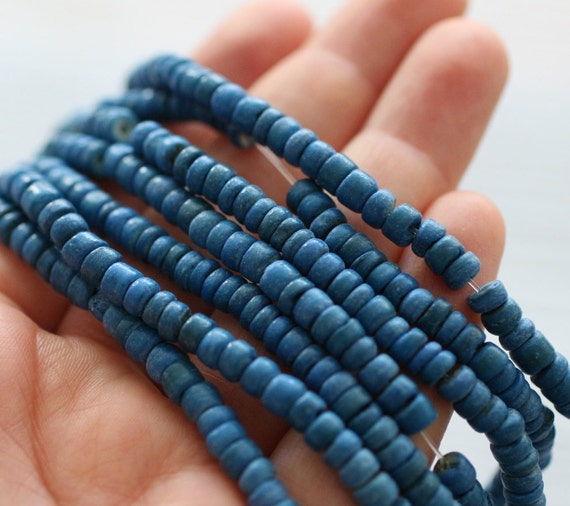 "15""- 150pc cobalt blue coconut beads, navy coco beads, bead strands, coconut rondelle beads, blue beads, coconut beads, heishi beads"