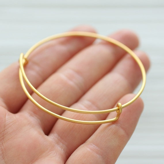 Adjustable bracelet blanks, 24K gold plated bangle bracelet blanks, wire bracelet blanks, sliding adjustable round gold bangles,DIY bracelet