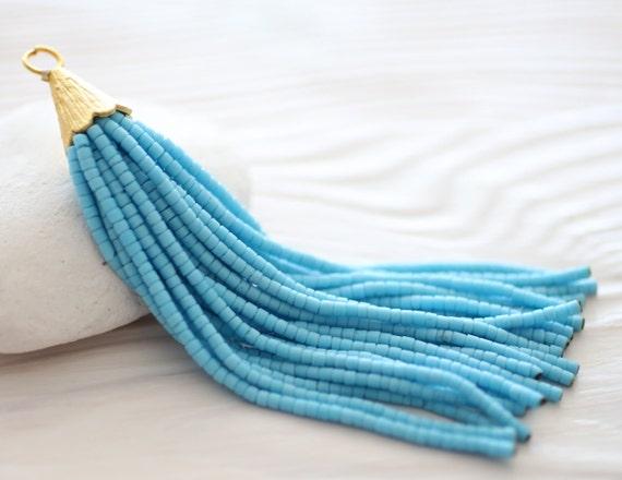 Turquoise beaded tassel, large tassel, tassel pendant, bead tassel, long tassel, decorative tassels, earrings tassel, blue tassel, aqua, N11