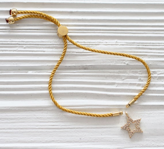 Adjustable golden yellow cord bracelet, DIY string bracelet blank, semi-ready bracelet with gold stopper, amber friendship bracelet, N29