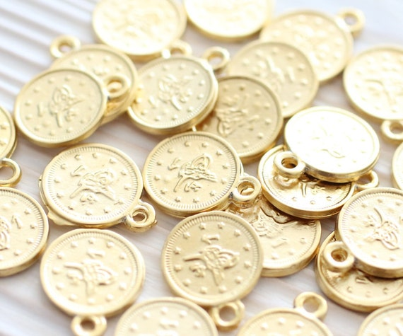10pc gold coins, gold earring charms, metal coin dangles, round coin beads, metal charms, flat coin, bracelet charms, necklace charms, L