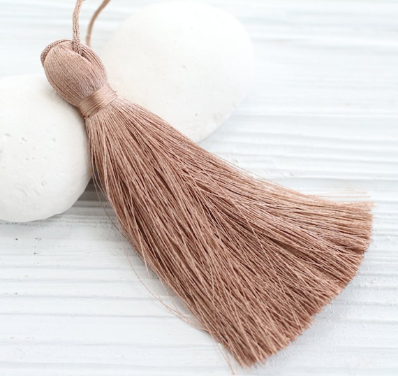 Coffee brown silk tassel, thick tassel, long tassels, extra large silk tassel, brown tassel, jewelry tassels, decorative tassels, beige, N38