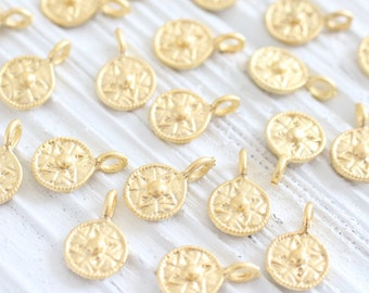 10pc matte gold mini tribal beads, earring charms, disc beads, coin beads, gold beads, metal round charms, bracelet charms, tribal charms