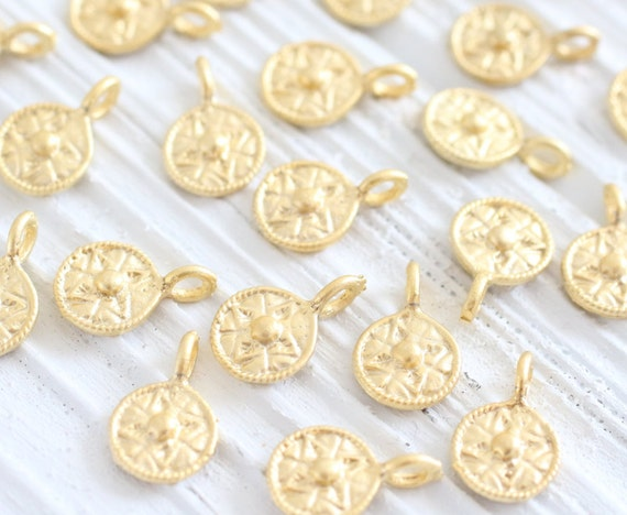 10pc antique gold mini tribal beads earring charms bracelet tribal charms coin beads antique beads disc beads metal round charms