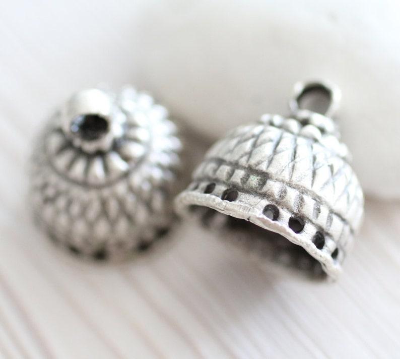 Large silver tassel cap bead cones rustic bead cap end caps metal tribal tassel cap,antique bead caps silver bead cap unique findings