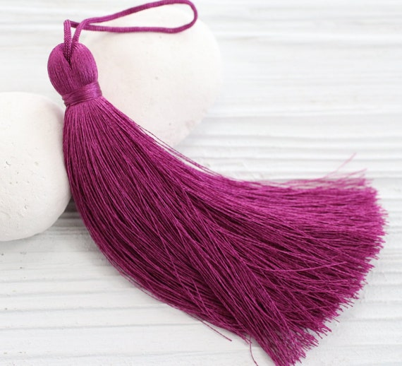 Plum fuchsia silk tassel, thick tassel, large tassels, silk tassel, jewelry tassels,thread tassel,decorative tassels,long tassel,magenta,N21
