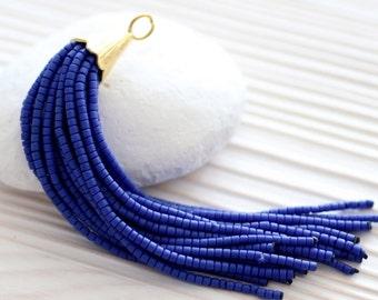 Dark blue long beaded tassel, tassel pendant, tassel earrings, bead tassel, necklace tassel, cobalt blue, tassel, gold cap tassel, large,N15