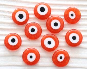 15pc-12mm orange evil eye, glass beads, round glass beads, lamp work beads, evil eye beads, flat glass beads, evil eye, good luck,EE12