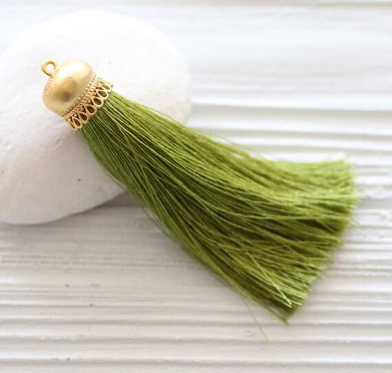 Olive green silk tassel, gold cap silk tassel pendant, green tassel, olive, silk mala tassel, jewelry tassel, long green necklace tassel,N32