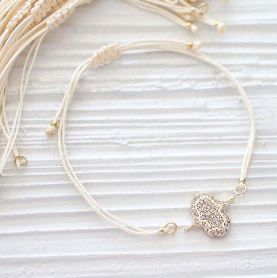 Ivory string bracelet blank, adjustable DIY string bracelet, cord bracelet with sliding knot, beige, off white friendship woven bracelet, N2