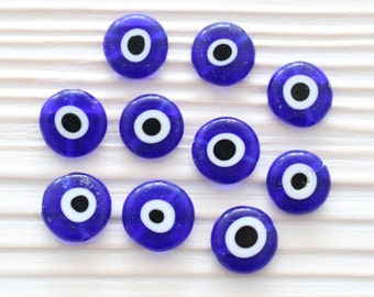 15pc-12mm evil eye beads, flat evil eye glass beads, lamp work beads, navy blue, round evil eye beads, handmade necklace bracelet beads,EE12