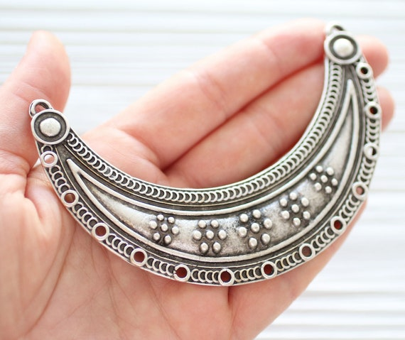 Large crescent pendant connector, focal connector, large metal collar, silver crescent moon, multi strand connector, necklace connector