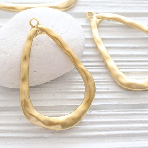 Organic shaped drop pendant, earrings teardrop loops, earring hoops, gold drop chandelier pendant, hammered pendant gold, tear drop pendant