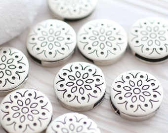 4pc antique silver bracelet slider spacer, round metal bead, necklace beads, components for flat leather, beads for bracelets, slide bead