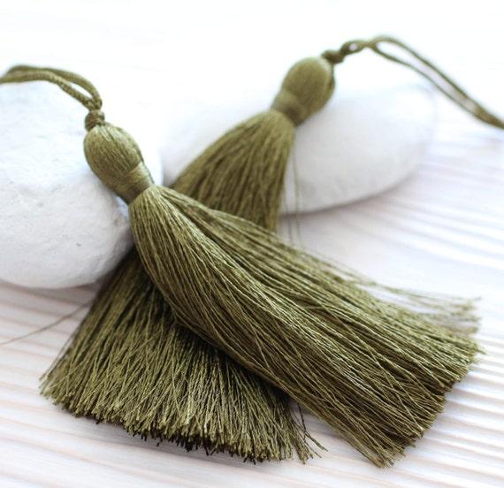 Olive green silk tassel, mala tassel, large tassel, silk tassel, tassels for jewelry, tassel, handmade tassels, decorative tassels,khaki,N20
