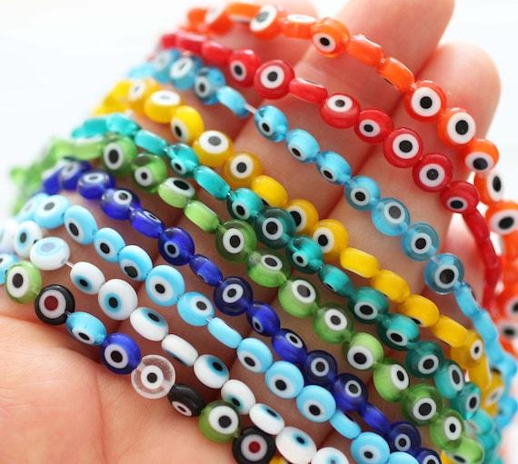 "15"", 65pc, 6mm evil eye beads bulk, round evil eye beads on strand, flat glass beads, blue, aqua, yellow, white, red, DIY bracelet beads,EE6"