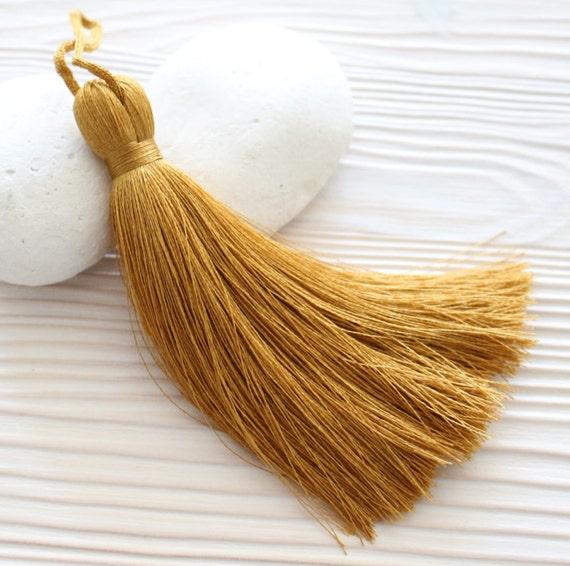 Gold yellow silk tassel, mustard, large tassels, extra thick,tassels for jewelry, chartreuse tassel, mala tassel, golden yellow tassel, N29